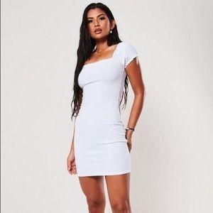 White Square Neck Shirred Bodycon Mini Dress